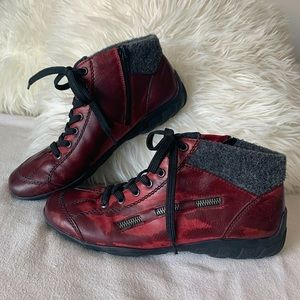 Rieker Two-tone Red Zipper & Lace-up Ankle Boots